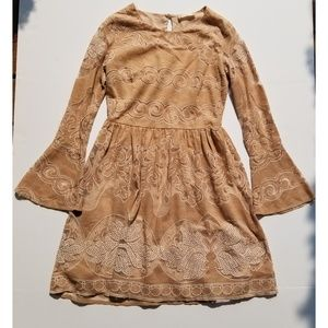 Altar'd State Dresses - Altar'd State tan lace dress long sleeve - sz med
